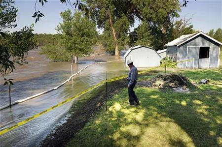 Exxon Mobil Engineer Eric Julian inspects oil residue on the property of Jim Swanson in Laurel, Montana, July 5, 2011.   REUTERS/John Warner