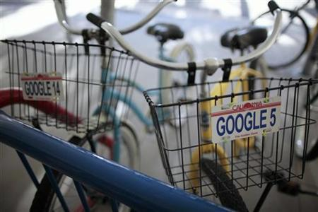 Bicycles for use by employees are lined up at the Google campus near Venice Beach, in Los Angeles, January 13, 2012.  REUTERS/Lucy Nicholson