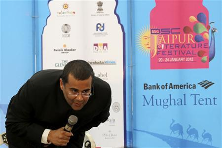 Indian writer Chetan Bhagat speaks at the annual Literature Festival in Jaipur, capital of India's desert state of Rajasthan, January 21, 2012.  REUTERS/Altaf Hussain