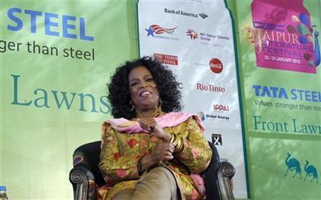 Entertainment host Oprah Winfrey speaks at the annual Literature Festival in Jaipur, January 22, 2012. REUTERS/Altaf Hussain