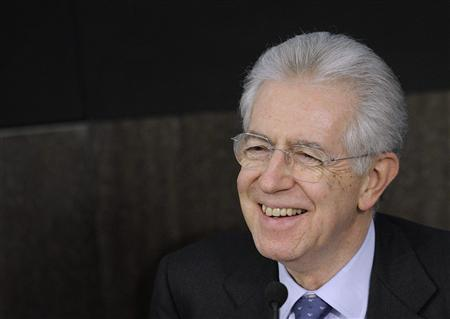 Italian Prime Minister Mario Monti smiles during a news conference in Rome January 20, 2012. REUTERS/Remo Casilli