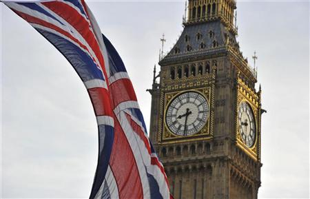 A Union flag flies near Big Ben and the Houses of Parliament in London October 24, 2011. REUTERS/Toby Melville