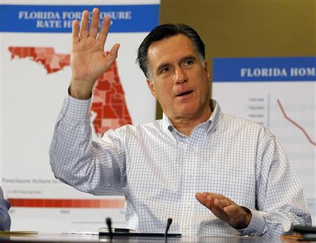 Republican presidential candidate and former Massachusetts Governor Mitt Romney speaks during a roundtable discussion about housing issues in Tampa, Florida January 23, 2012.   REUTERS/Brian Snyder