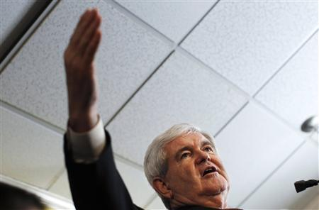 Republican presidential candidate and former Speaker of the House Newt Gingrich speaks during a campaign stop at the Tick Tock Restaurant in St. Petersburg, Florida January 24, 2012. REUTERS/Shannon Stapleton