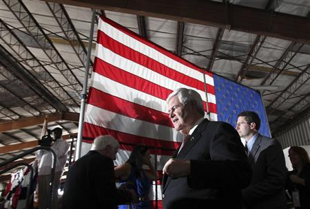 Republican presidential candidate and former Speaker of the House Newt Gingrich arrives for a campaign stop at Dolphin Aviation in Sarasota, Florida January 24, 2012. REUTERS/Shannon Stapleton