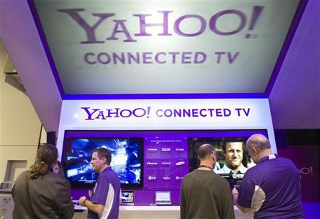 The Yahoo! Connected TV booth is shown during the 2011 International Consumer Electronics Show (CES) in Las Vegas, Nevada January 7, 2011.   REUTERS/Steve Marcus
