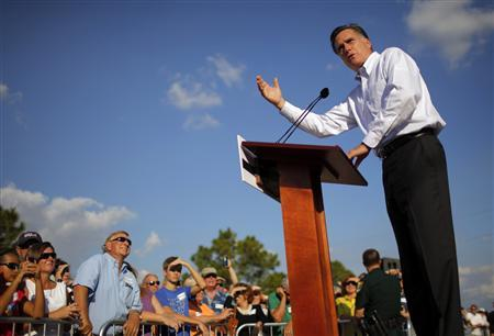 Republican presidential candidate and former Massachusetts Governor Mitt Romney speaks during a campaign stop in front of a foreclosed home in Lehigh Acres, Florida January 24, 2012.   REUTERS/Brian Snyder