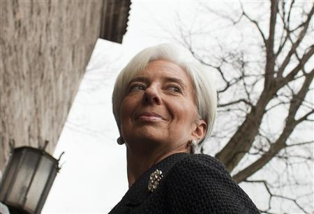 The head of the International Monetary Fund (IMF) Christine Lagarde arrives at the German Council on Foreign Relations in Berlin, January 23, 2012.  REUTERS/Thomas Peter
