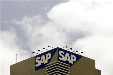 The SAP logo is seen on a building at the SAP India labs campus in Bangalore June 24, 2009.   REUTERS/Punit Paranjpe