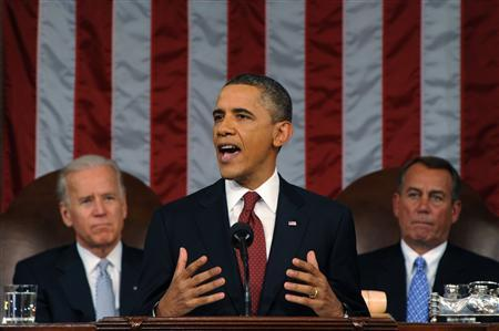 President Obama delivers his State of the Union address to a joint session of Congress on Capitol Hill, January 24, 2012. REUTERS/Saul Loeb/Pool