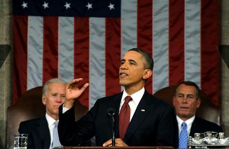 U.S. President Barack Obama (C) delivers his State of the Union address to a joint session of Congress, as Vice President Joe Biden (L) and House Speaker John Boehner (R-OH) look on, on Capitol Hill in Washington, January 24, 2012. REUTERS/Saul Loeb/Pool