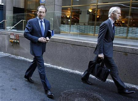 Morgan Stanley CEO James Gorman (L) is seen leaving after a meeting with lawyer Davis Polk in New York January 13, 2011. REUTERS/Jessica Rinaldi