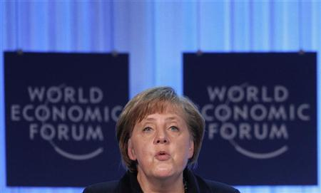 German Chancellor Angela Merkel speaks during the opening of the Annual Meeting 2012 at the World Economic Forum (WEF) in Davos, January 25, 2012. REUTERS/Christian Hartmann
