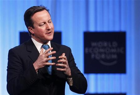 Britain's Prime Minister David Cameron addresses a session at the World Economic Forum (WEF) in Davos, January 26, 2012.         REUTERS/Arnd Wiegmann