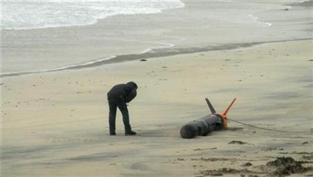A man looks at a target drone that washed ashore on the Isle of Harris, in the Outer Hebrides, Scotland, October 19, 2008. REUTERS/Beka Globe
