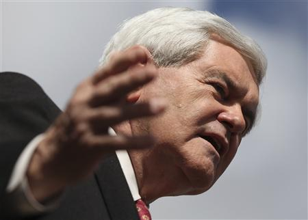 Republican presidential candidate and former Speaker of the House Newt Gingrich speaks during a campaign event in Coral Springs, Florida January 25, 2012.  REUTERS/Shannon Stapleton