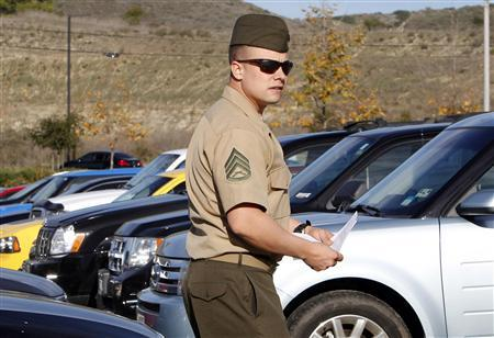 U.S. Marine Staff Sergeant Frank Wuterich leaves the courtroom after his sentencing at Camp Pendleton January 24, 2012.   REUTERS/Alex Gallardo