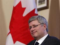 <p>Prime Minister Stephen Harper takes part in a meeting in his Langevin Block office in Ottawa January 18, 2012. REUTERS/Chris Wattie</p>