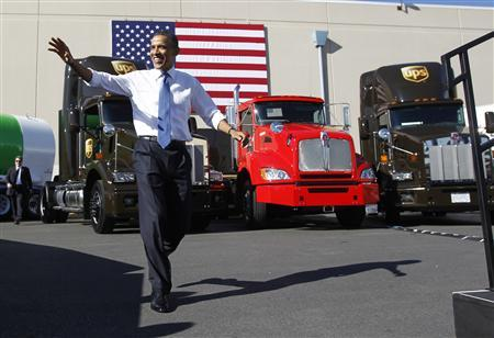 President Obama arrives at a UPS facility in Las Vegas, January 26, 2012.  REUTERS/Jason Reed