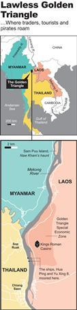 Map locates the Golden Triangle along the Mekong River, at  the borders of Thailand, Laos and Myanmar.  REUTERS/Graphics