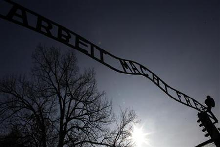A view of the gate, with the words ''Arbeit macht frei'' (Work sets you free), at the former Nazi death camp of Auschwitz in Oswiecim January 27, 2012. REUTERS/Kacper Pempel