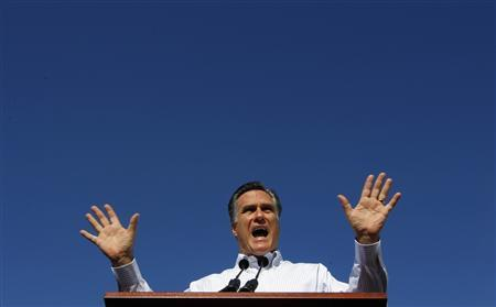 Republican presidential candidate and former Massachusetts Governor Mitt Romney speaks during a campaign stop at Paramount Printing in Jacksonville, Florida January 26, 2012. REUTERS/Brian Snyder