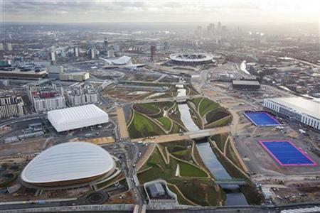 An aerial view shows the London 2012 Olympic Games Olympic Park, in London December 5, 2011. REUTERS/LOCOG/Handout/Files