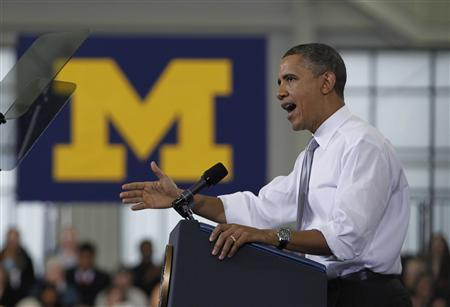 U.S. President Barack Obama delivers remarks on college affordability at the University of Michigan in Ann Arbor, Michigan, January 27, 2012.    REUTERS/Jason Reed