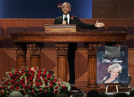 Reverend Al Sharpton delivers the eulogy at the funeral for singer Etta James, who died last week at age 73, at City of Refuge in Gardena, California, January 28, 2012. REUTERS/Jonathan Alcorn