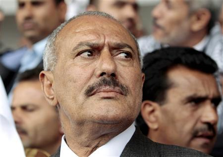 Yemen's President Ali Abdullah Saleh arrives at a rally of his supporters in Sanaa in this May 6, 2011 file photo. REUTERS/Ahmed Jadallah/Files