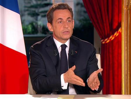 France's President Nicolas Sarkozy, seen in this still image taken from video, as he appears on French national TV in Paris, January 29, 2012 . Sarkozy was expected to announce new economic reforms to create more jobs, improve business competitiveness and convince voters he is the right leader to revive France's sputtering economy. French newspaper Le Monde reported on Saturday that Sarkozy would also announce a German-inspired ''Social VAT'' , raising French VAT by 1.6 percentage points from 19.6 to 21.2 percent.   REUTERS/France Television