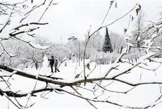 Люди лепят снеговика в Коломенском 1 января 2012 года. Экстремально низких температур под минус 30 градусов в столице Москвы на рабочей неделе не будет - синоптики ожидают морозы около минус 20 и преимущественно солнечную погоду. REUTERS/Denis Sinyakov