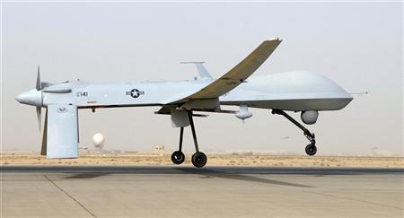 An MQ-1B Predator from the 46th Expeditionary Reconnaissance Squadron takes off from Balad Air Base in Iraq, in this file photograph taken on June 12, 2008. REUTERS/U.S. Air Force photo by Senior Airman Julianne Showalter/Handout/Files