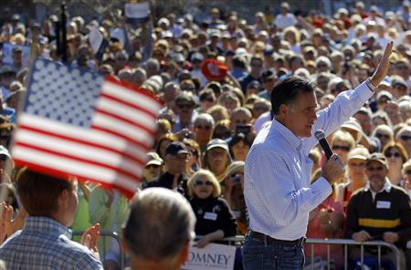 Republican presidential candidate and former Massachusetts Governor Mitt Romney speaks at a campaign rally in Dunedin, Florida January 30, 2012. REUTERS/Brian Snyder