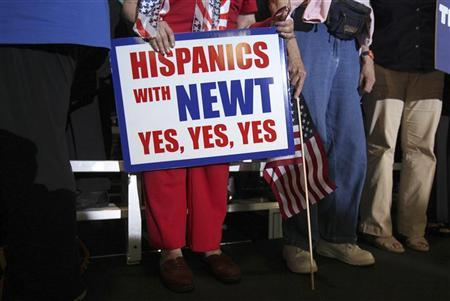 Supporters of U.S. Republican presidential candidate and former Speaker of the House Newt Gingrich stand during a rally in Tampa, Florida January 30, 2012.  REUTERS/Shannon Stapleton