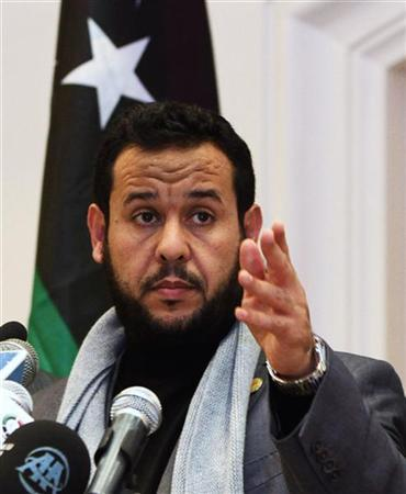 Libya's Islamist military chief Abdel Hakim Belhadj speaks during news conference in Tripoli January 3, 2012.  REUTERS/Ismail Zitouny