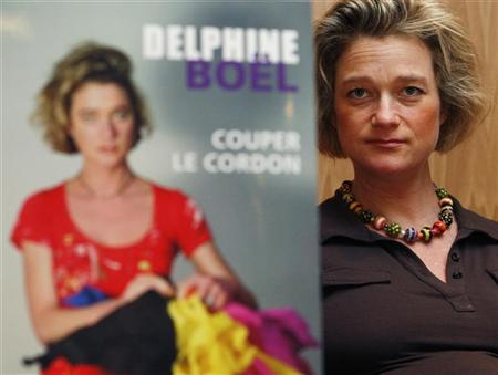 Belgian artist Delphine Boel presents her book ''Cutting the Cord'' in Brussels, in which she recounts her life and show examples of her art, April 9, 2008.  REUTERS/Francois Lenoir