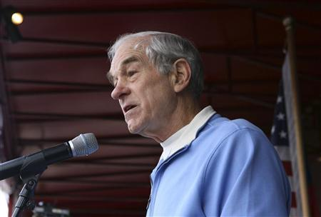 Republican presidential candidate and U.S. Representative Ron Paul (R-TX) speaks to supporters at an event in Freeport, Maine January 28, 2012. REUTERS/Joel Page