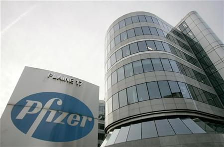 A view of the Belgian headquarters of U.S. pharmaceutical giant Pfizer, in Brussels in this January 23, 2007 file photo. REUTERS/Francois Lenoir