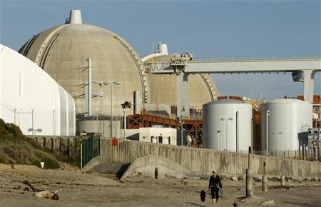A woman and her dogs walk past the San Onofre Nuclear Generating Station that sits on the shore of the Pacific Ocean in North San Diego County, California March 14, 2011. REUTERS/Mike Blake
