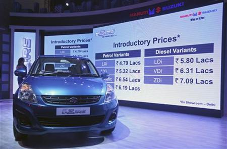 Prices of the Maruti Suzuki's 'New Swift Desire' car are flashed on a screen during its launch in New Delhi February 1, 2012. REUTERS/Parivartan Sharma/Files