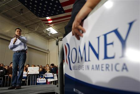 Republican presidential candidate and former Massachusetts Governor Mitt Romney speaks at a campaign rally at Ring Power Lift Trucks in Jacksonville, Florida January 30, 2012.   REUTERS/Brian Snyder