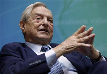 Billionaire investor George Soros speaks at a forum Charting A New Growth Path for the Euro Zone during the annual IMF-World Bank meetings in Washington in this September 24, 2011 file photo.   REUTERS/Yuri Gripas/Files