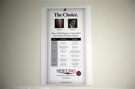A flier is seen posted on the wall of Newt Gingrich's Newt 2012 Polk County headquarters office in Lakeland, Florida January 31, 2012.   REUTERS/Shannon Stapleton