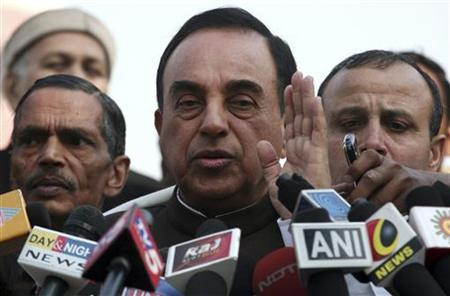 Janata Party president Subramanian Swamy, who brought the petition to revoke the telecom licences issued in 2008, speaks with the media after a verdict outside the Supreme Court in New Delhi February 2, 2012. REUTERS/Parivartan Sharma