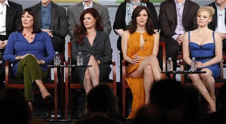 (L - R) Cast members Anjelica Huston, Debra Messing, Katharine McPhee and Megan Hilty attend the panel for the NBC television series ''Smash'' at the Television Critics Association winter press tour in Pasadena, California January 6, 2012.  REUTERS/Mario Anzuoni