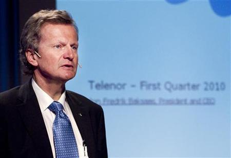 Jon Fredrik Baksaas, president and chief executive of Telenor in Oslo May 5, 2010. REUTERS/Heiko Junge/Scanpix