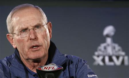 New York Giants head coach Tom Coughlin addresses the media during a news conference in Indianapolis February 1, 2012. The Giants will play against the New England Patriots in Super Bowl on February 5.  REUTERS/Jeff Haynes