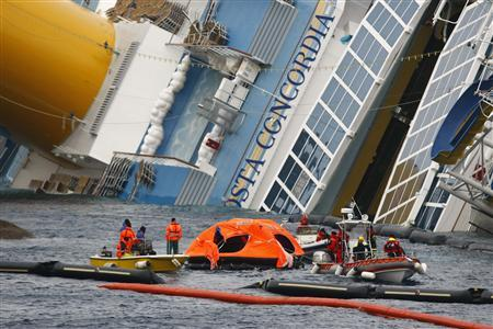 Firefighters tow an abandoned life raft from the capsized cruise liner Costa Concordia off the west coast of Italy at Giglio island February 2, 2012.  REUTERS/Darrin Zammit Lupi
