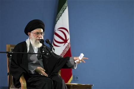 Iran's Supreme Leader Ayatollah Ali Khamenei gestures as he speaks to his supporters in Tehran January 9, 2012. REUTERS/Khamenei.ir/Handout